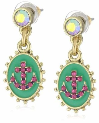"Betsey Johnson Ivy League"" Oval Anchor Drop Earrings"