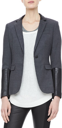 Rag and Bone Rag & Bone Timeless Leather-Sleeve Blazer