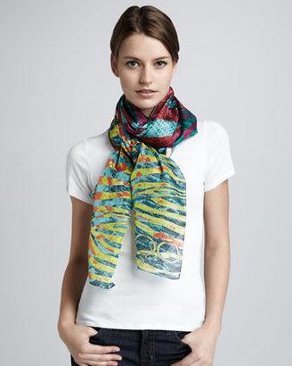 Jimmy Choo Siracusa Python-Print Cashmere Scarf, Multicolor