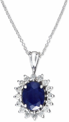 Effy Royalty Inspired by Sapphire (1-9/10 ct. t.w.) and Diamond (3/8 ct. t.w.) Oval Pendant in 14k White Gold
