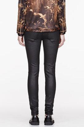 Current/Elliott Black Coated Sweeney Skinny Jeans