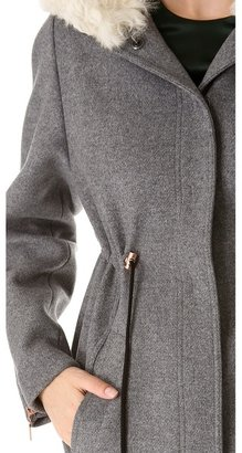 Cédric Charlier Hooded Fur Coat with Drawstrings