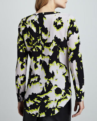 Neiman Marcus Cusp by Printed High-Low Blouse