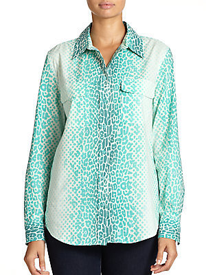 Equipment Ombre Mixed-Print Cotton Blouse