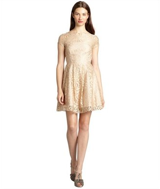 ABS by Allen Schwartz champagne lace crewneck cap sleeve flounce dress