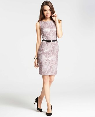 Ann Taylor Floral Tweed Jacquard Sheath Dress