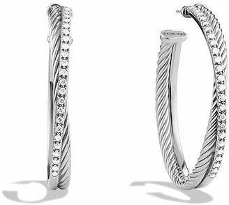 David Yurman Crossover Extra Large Hoop Earrings with Diamonds