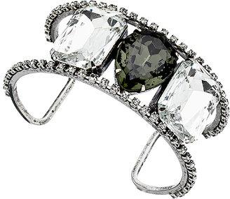 Yochi Silver and Tri-Stone Open Cuff Bracelet