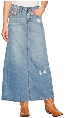 Stetson Long Denim Skirt w/ Back Slit (Blue) Women's Skirt