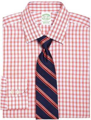 Brooks Brothers Egyptian Cotton Extra-Slim Fit Twill Triple Windowpane Luxury Dress Shirt