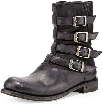 John Varvatos Engineer 4-Buckle Boot, Black