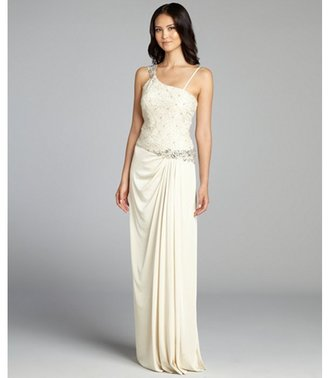 Mignon cream crystal and lace embellished one shoulder jersey knit gown