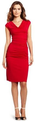DKNY DKNYC Women's Matter Short Sleeve Cowl Neck Side Ruched Dress