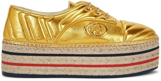 Gucci 50 Gold Leather Espadrille Sneakers