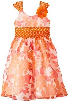Bonnie Jean Girls 7-16 Orange Burnout Floral Dress