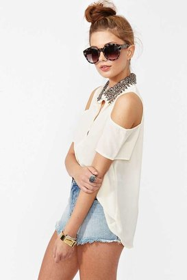 Nasty Gal Total Stud Blouse - Cream