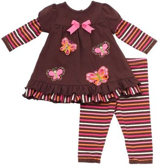 Rare Editions mock-layer striped butterfly top and leggings set - girls 4-6x