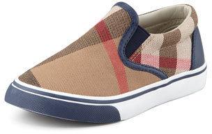 Burberry Navy Check Slip-On Sneaker, Toddler