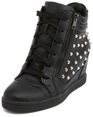 Charlotte Russe Studded Zipper-Trim Wedge Sneaker
