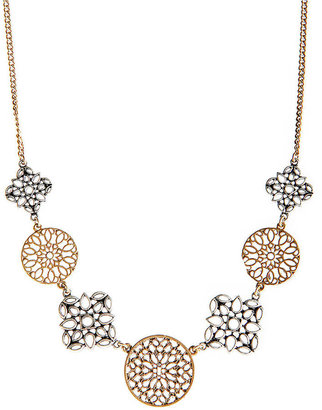 Lucky Brand Silver and Gold-Tone Disc Collar Necklace