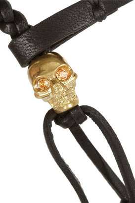 Alexander McQueen Leather and Swarovski crystal skull bracelet