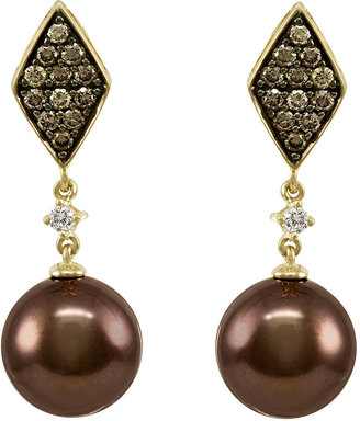 Le Vian Tahitian Pearl (10mm), Chocolate Diamond (1/2 ct. t.w.) and White Diamond Accent Drop Earrings in 14k Gold