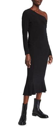 Norma Kamali Long-Sleeve Drop-Shoulder Fishtail Midi Dress