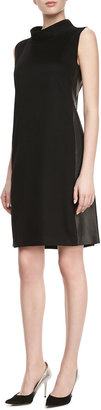 Lafayette 148 New York Iona Cashmere Faux-Leather-Panel Dress