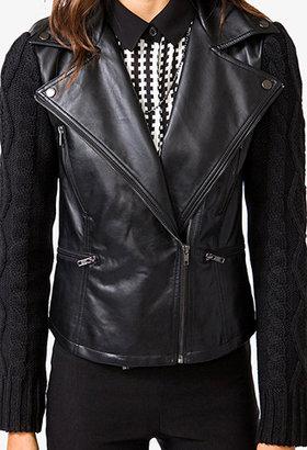 Forever 21 Cozy Combo Moto Jacket