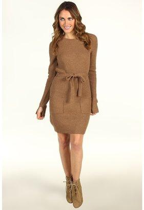 BCBGMAXAZRIA Regina Crew Neck Sweater Dress (Light Heather Toffee) - Apparel