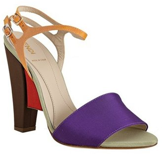 Fendi violet faille colorblock ankle strap sandals