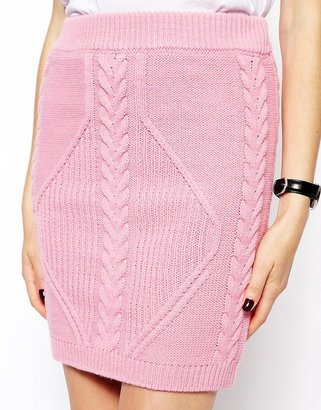 Asos Co-ord Skirt In Cable Knit