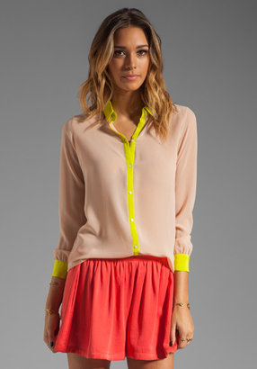 Erin Fetherston ERIN Maryse Blouse in Cameo Rose/Limeade