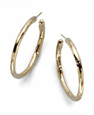 Ippolita Classico Medium 18K Yellow Gold Hammered Hoop Earrings