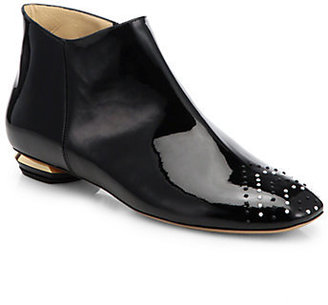 Nicholas Kirkwood Studded Patent Leather Ankle Boots