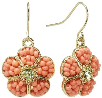 LC Lauren Conrad Gold Tone Simulated Crystal & Bead Flower Drop Earrings