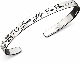 Unwritten Sterling Silver Love Life Be Brave Bracelet Cuff