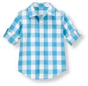 Janie and Jack Gingham Roll Cuff Shirt