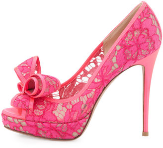 Valentino Peep-Toe Lace Bow Pump, Pink