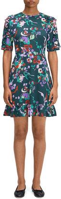 Kate Spade Fleur Nouveau Smocked-Back Ruffle Dress