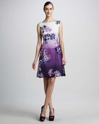 Kay Unger New York Floral-Print Sleeveless Cocktail Dress