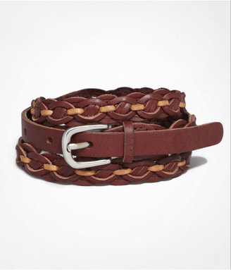 Express Braided Leather Skinny Belt