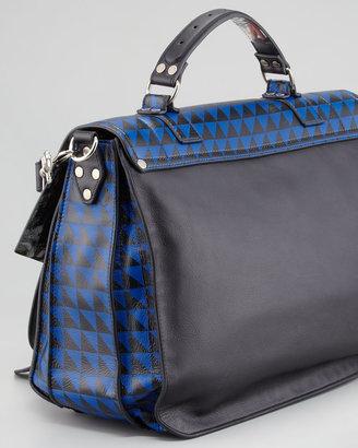 Proenza Schouler PS1 Triangle-Print Medium Satchel Bag, Blue/Black