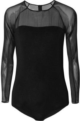 Maison Martin Margiela Silk-chiffon-paneled stretch-jersey bodysuit