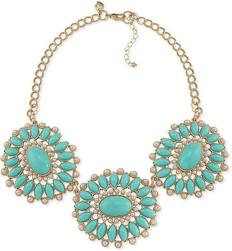 Carolee Necklace, Gold-Tone Turquoise Bead Bib Necklace