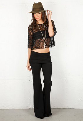 Nightcap Clothing Fleece Foldover Flare Pant in 2 Colors -