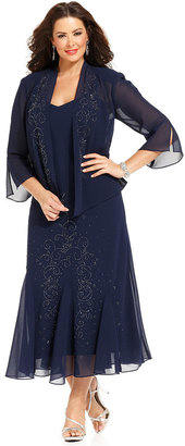R&M Richards Plus Size Beaded V-Neck Dress and Jacket $139 thestylecure.com