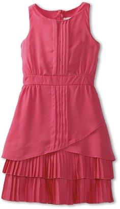Us Angels Halter Look Dress w/ Flounce Hem (Big Kids) (Hibiscus) - Apparel