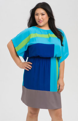 Suzi Chin for Maggy Boutique Colorblock Crêpe de Chine Dress (Plus)