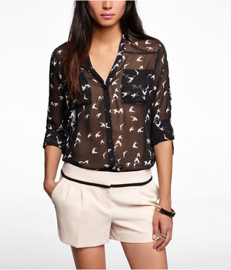 Express Bird Print Convertible Sleeve Portofino Shirt